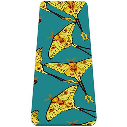 BestIdeas Esterilla de yoga amarillo libre volando mariposa patrón azul para yoga, pilates, ejercicio en el suelo hombres mujeres niñas niños niños principiantes diseño antideslizante