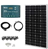 HQST 100W 12V Monocrystalline Solar Panel Kit w/ 30A PWM LCD Solar Charge Controller, 20Ft 12AWG Panel and Controller Connector...