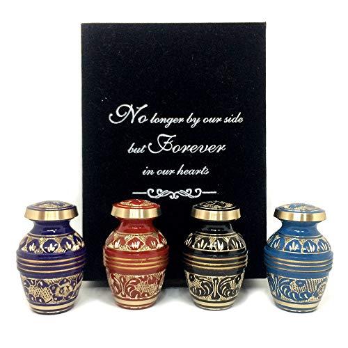 Keepsake Mini Urns - Mooi Handgemaakte Mini Urns Set van 4 voor Mensen Assen - Gratis Premium Fluwelen Doos & Tassen - Kleine Crematie Urns voor volwassenen en baby's - Een blijvende eerbetoon aan uw geliefde