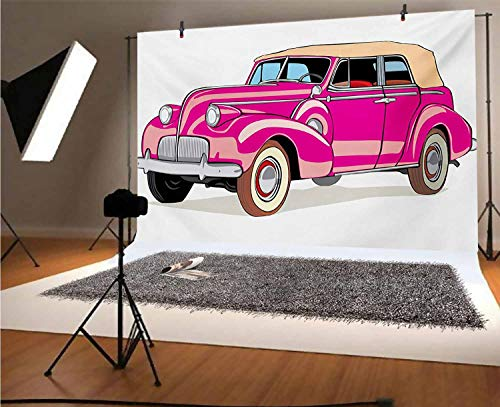 Cars 10x8 FT Vinyl Backdrop PhotographersConvertible Car Fifties Curved Edges Vintage Vehicle Vibrant Colored Automobile Background for Baby Birthday Party Wedding Graduation Home Decoration
