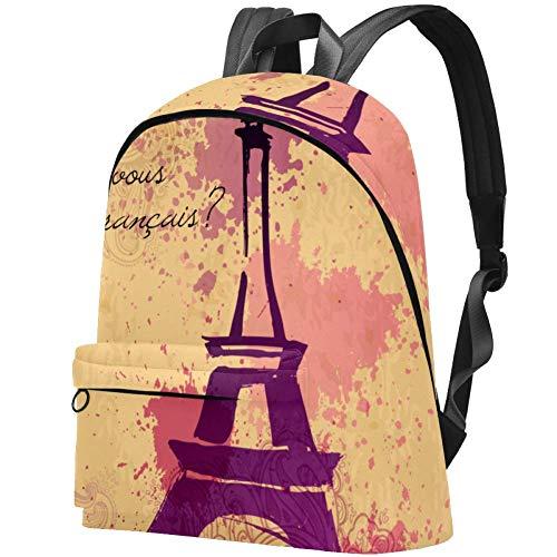 Eiffel Tower French Cursive Eiffel Word Pastel Splatter Retro Decorative Pattern College Student Bookbag Backpack Travel Daypack Bag
