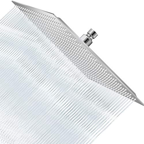 16 Inch Shower Head, Large Rain Showerhead, Ultra Thin Square High Pressure Rainfall Shower Head for Bathroom - Easy to Install and Whole Body Covered (Chrome)