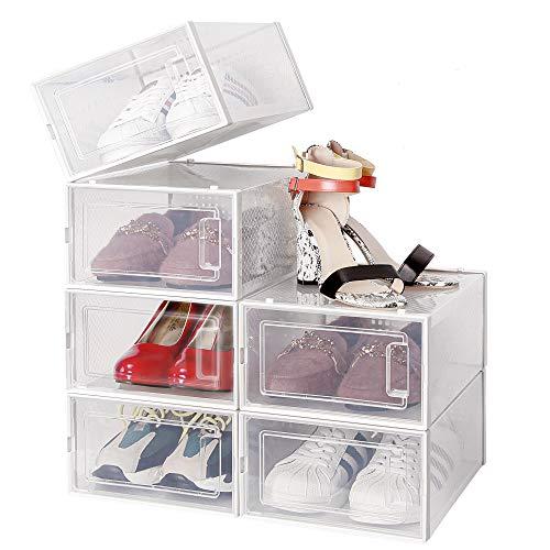 Amzdeal Cajas de Zapatos Plásticas 6 Pcs - Organizador de Zapatos Duradero y Apilable, 100% Impermeable, Caja de Almacenamiento Plegable, Más Ordenado, para Zapatos de Hombres y Mujeres 35*25*18.7cm