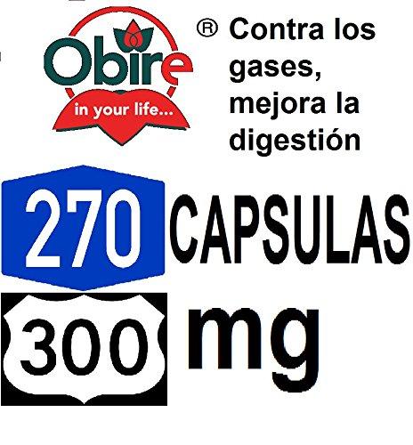 Carbone attivo vegetale 300 mg Obire 270 capsule, Efficace sollievo dal gonfiore dello stomaco, l'acidità, l'alitosi, i gas, gli avvelenamenti