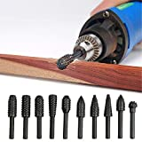 10 Pieces Steel Rotary Burr Set, 6mm(1/4'') Shank Wood Rasp Drill Bit for Engraving Grinding Polishing Milling