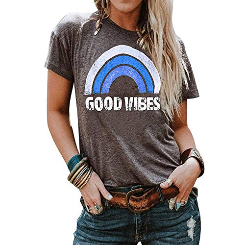 Good Vibes Letter Impreso Camisas Mujer Rainbow T-Shirt Summer Fashion Casual Camisetas de Manga Corta Tops