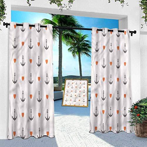 Cortina de pérgola, ancla, anclajes y corazones, cortinas de patio de 84 pulgadas de largo con aislamiento térmico para bloques de luz/ahorro de energía (1 panel)