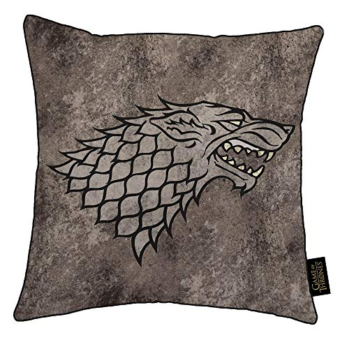 Game Of Thrones Juego de Tronos - Cojín con escudo de armas de una de las casas (a elegir) (Tamaño Único) (Stark)