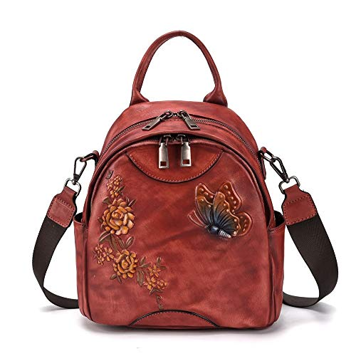 TYXL backpack Men's Bag Leather Retro Crazy Horse Leather Backpack Multifunctional Men's Backpack Top Layer Leather Handbag 25 * 25 * 13CM (Color : Red)