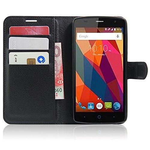 SMTR ZTE Blade L5 / L5 plus Wallet Tasche Hülle - Ledertasche im Bookstyle in Schwarz - [Ultra Slim][Card Slot][Handyhülle] Flip Wallet Case Etui für ZTE Blade L5 / L5 plus