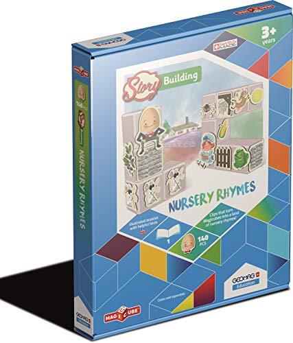 Geomag Education 233 - Magicube Fabrique à Histoires - Comptines Enfantines - Boîte de 140 Pièces