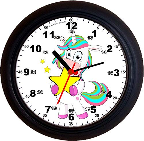 Lucky Clocks LERNUHREN Einhorn MIT Stern Schulanfang Wanduhren