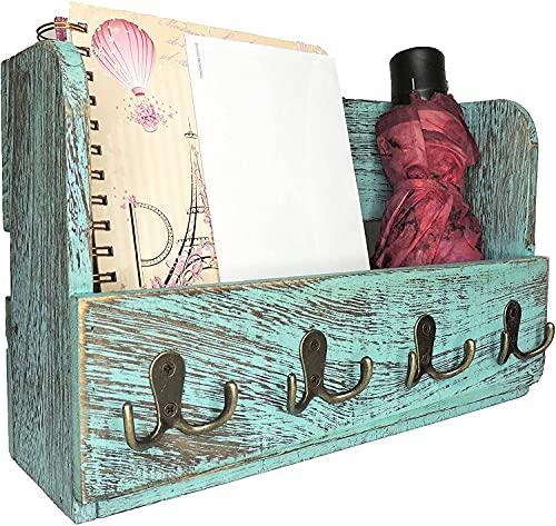 Comfify Organizador de madera para correo de montaje en pared - Organizador rústico para pared - Porta revistas con 4 ganchos de doble llave - Decorador de pared rústico de color bazul para la entrada