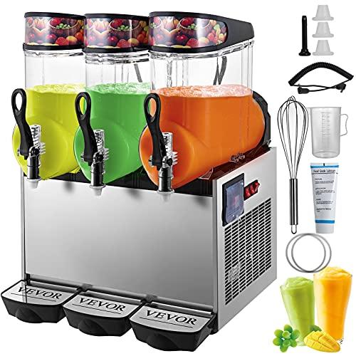 VEVOR 110V Slushy Machine 12Lx3 Bowl Frozen Drink 900W Margarita Maker for Supermarkets Restaurants Commercial Use, Sliver