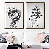 Set of 2 Pinturas De La Lona Imprime Carteles Retrato Ahumado Abstracto Simple Moderno Sin Marco Impermeable Decoración Pintura para El Hogar Oficina Tienda,21x30cm(8.2x11.8in)