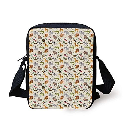 Unisex Messenger Bag Elephant Giraffe Animals Lion Shoulder Chest Cross Body Backpack Bag