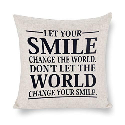 DONL9BAUER - Funda de cojín con frase 'Let Your Smile Change The World', diseño con texto en inglés 'Let Your Smile Change The World', color blanco y negro