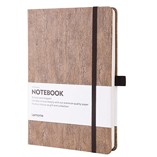Dotted Bullet Journal/Notizbuch Dotted - Umweltfreundliches Naturkork Hardcover Dot Grid Notebook mit Stiftschlaufe - Premium Dickes Papier, Bound Dotted Notebook - A5 (5x8In)