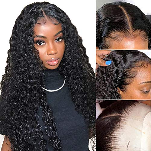 Pelucas mujer pelo natural T part peluca lace front wig rizada negra ondas pelo rizado human hair wig regalos mujer 18inch(45cm)