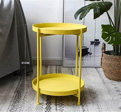 FENGRONG Mini Mesa De Café, Sala Sencilla Hierro Nórdica De Doble Capa Pequeña Esquina De La Mesa De Café Mesa De Centro Redonda Sala De Estar Viviendo El Mini Sofá Mesa Auxiliar (Color : Yellow)