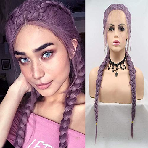 Karissa Hair Braided Wigs for Women Lace Front Braide Wig Purple Long Synthetic Hair Twist Braids Drag Queen Wigs Female Cosplay Party Use 22inch
