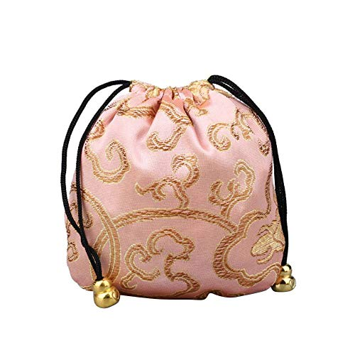 Afco BagBright Color Chinese Good Lucky Bag Auspicious Cloud Design Storage Gift Pouch Bright Pink