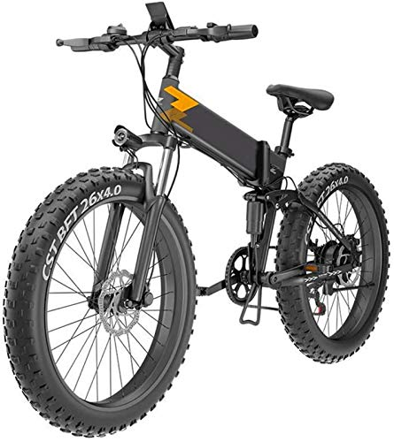 Electric Bike Electric Mountain Bike, 26'' Electric Folding Bike for Adults, Electric Snow Bike Three Working Modes, Aluminum Alloy Mountain Cycling Bicycle, E-Bike with 7-Speed Transmission for Outdo