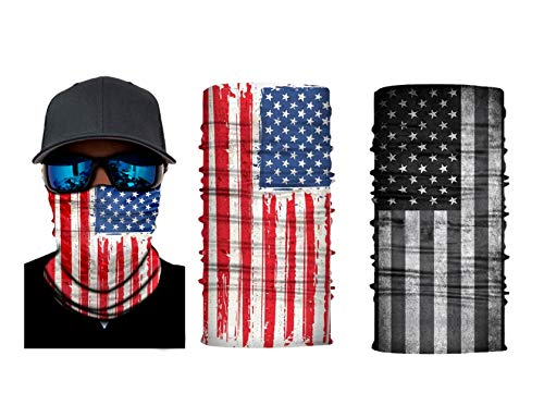 American Flag Mask - Bandana Seamless Breathable Scarf - US Flag Neck Gaiter - Cloth Face Tube - Unisex Cover Rave Mask for Sports Running Fishing Bike Riding - 2 Pack Red & Black