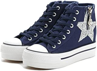 lcky Popular Women's Shoes high-top Canvas Shoes Casual Walking Shoes