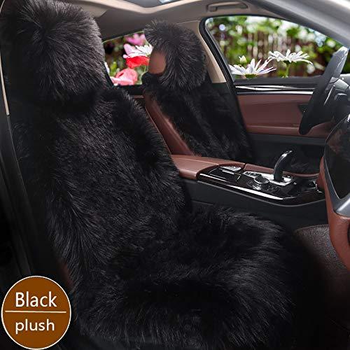 WYW 1 teiliges Set Universal Lammfellbezug Auto Sitzbezug 100% Echtlammfell Vollbezug Vordersitzbezug, Feste Woll,Schwarz