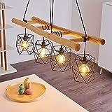 Lampadario a sospensione Kotor in metallo/legno in nero/naturale, 4 lampadine E27 max. 60 Watt, lampada a sospensione regolabile in altezza, con paralume effetto rete, adatto a LED