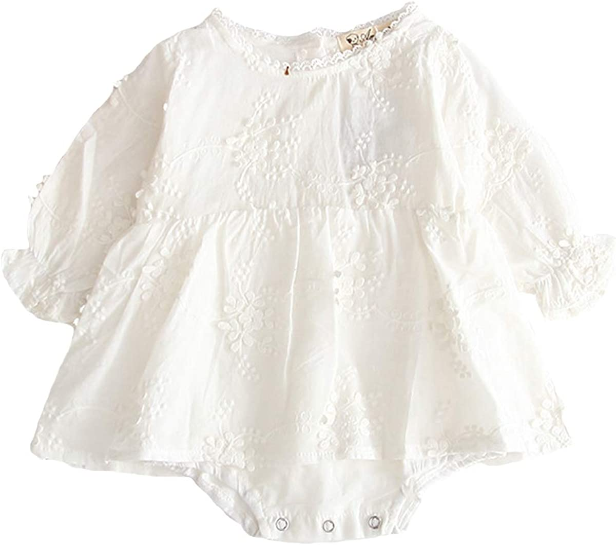 Baby Girls Ruffle Sleeve Romper Newborn Infant Lace One-Piece Bodysuit Tutu Dress Outfit