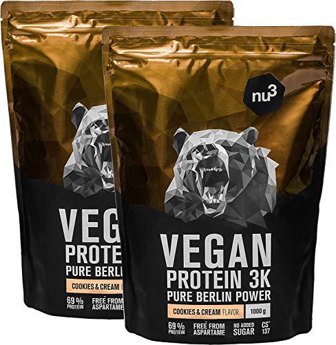 nu3 Vegan Protein 3K Shake - 2 Kg Cookies & Cream Blend - veganes Eiweisspulver aus 3-Komponenten-Protein mit 69% Eiweiss - Pulver zum Muskelaufbau mit Kekse Geschmack - Laktosefrei und zuckerfrei