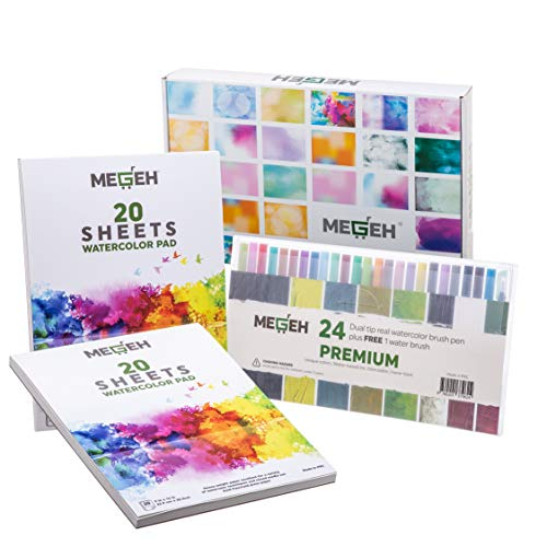 Watercolor Paper, Paint, and Brushes Art Set - Full Palette of 24 Two-Sided Watercolor Brush Pens w/ 40 Sheets of Paper + 1 Water Blending Brush Pen - Crafts Kit for Kids & Adults by Megeh