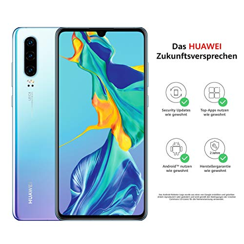 HUAWEI P30 Dual-SIM Smartphone Bundle (6,1 Zoll, 128 GB ROM, 6 GB RAM, Android 9.0) Breathing Crystal + USB-Adapter [Exklusiv bei Amazon] - DE Version