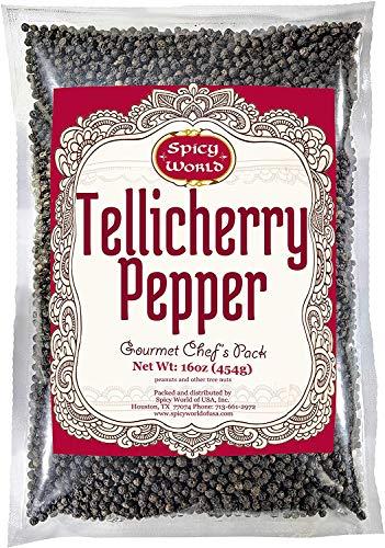 Spicy World Whole Black Peppercorns Tellicherry 16 Oz in Resealable Bag- Steam Sterilized- Non-GMO Black Pepper - Grinder Refill
