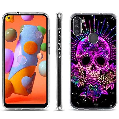 Compatible with Samsung Galaxy A11 Case Clear with Design Soft TPU Shockproof Protective Cover Case for Samsung Galaxy A11 (Cool Purple Skull)