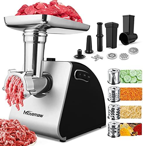 Fleischwolf Elektrisch Gemüseschneider,2000W Multi Küchenmaschine Gemüsehobel Wurstmaschine mit 3 Lochscheiben, 4 Kegel-Klingen, Wurstfüller und Gebäck Aufsatz