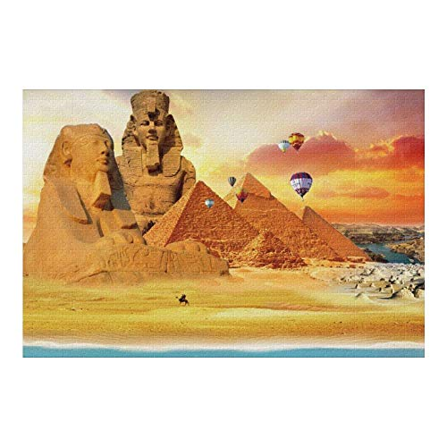 Picture Puzzle, Egypt Pyramids Travel Jigsaw Puzzle 1000 Piece Funny Brain Puzzles Educational Gift for Adult Kids Family Home Wall Decorations
