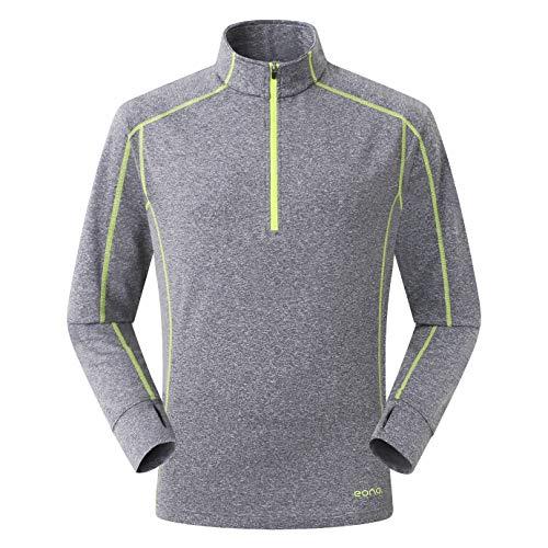 Amazon Marke: Eono Essentials Leichtes Herren-Fleeceshirt aus hochelastischem Gitter-Fleece - Large, Schattengrau