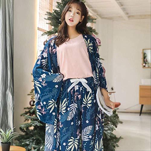 Daily Spring Autumn Conjunto de Pijama para Mujer Conjunto de 4 Piezas de Estilo casero Juego de Dormir Hojas Sueltas Dulces Ropa de Dormir Mujer XL ph-04