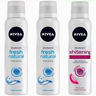 Nivea FRESH NATURAL DEO + FRESH NATURAL DEO + WHITENING SMOOTH SKIN DEO Perfume Body Spray - For Women (450 ml, Pack of 3)