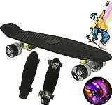 Mini Skateboard Planche à Roulettes Cruiser pour Enfants Adultes, 55 cm Mini Cruiser Skateboard Complète pour Garçons Filles planche à Roulettes Rétro Skateboard avec Roues Clignotantes (Noir)