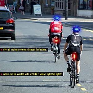 DONPEREGRINO B2-110 LM Luz Trasera Bici Diurna y Nocturna de Alto Brillo, LED Luz Bicicleta Roja/Azul Recargable USB con Modos Fijos e Intermitentes