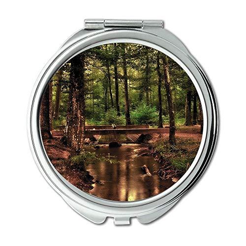 Spiegel, Mausefalle Flasche Erde, Wald Baum Bach Wasser Laufende Welle Brücke Pool Schminkspiegel, Taschenspiegel, tragbarer Spiegel