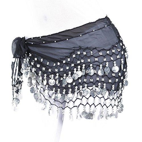 Women Chiffon Dangling Gold Coins Belly Dance Hip Skirt Scarf Wrap Belt (Silver Coin, Black)