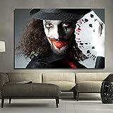 ganlanshu Pittura Senza Cornice Arte della Parete Poster Astratto Moderno Pagliaccio e Poker per Soggiorno Decorazione della casaZGQ5883 80X120 cm