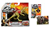 Jurassic World Herrerasaurus Battle Damage Action Figure + One Premium Trading Card. Bundle Set of 2 Items