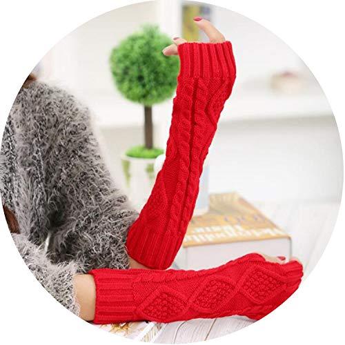 Small-shop-gloves Langer Abschnitt, 30 cm, für den Winter, rautenförmig, fingerlos, warm, freiliegende Finger, L89, Damen, rot, Einheitsgröße