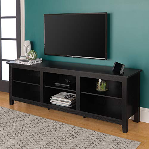 """Walker Edison Furniture Company Minimal Farmhouse Wood Universal Stand for TV's up to 80"""" Flat Screen Living Room Storage Shelves Entertainment Center, 70 Inch, Black"""